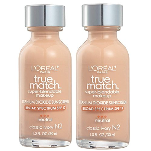L'Oreal True Match Super Blendable Makeup, Classic Ivory [N2], 1 oz (Pack of 2)