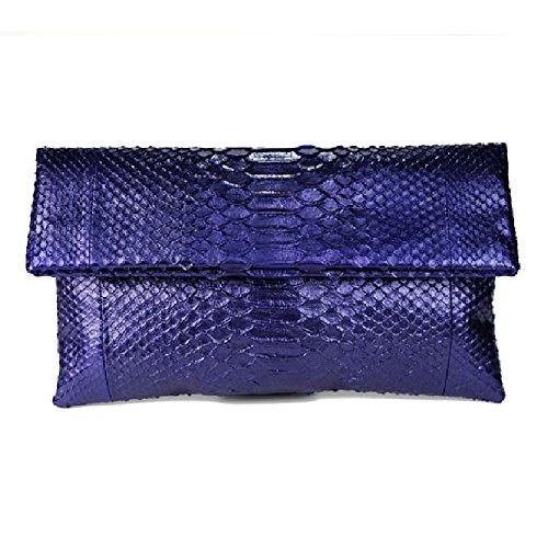 Genuine Metallic Amethyst Python Leather Classic Foldover Clutch Bag