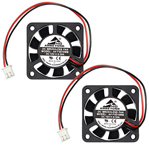 2-packs 40 x 40 x 10mm 4010 12V 0.10A Brushless DC Cooling Fan 2pin AV-F4010MB UL CE