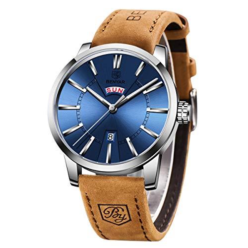 BENYAR Men's Watch Japan Quartz -30M Waterproof Fashion Sports Chrono Leather Men's Watch