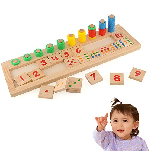 OWIKAR Montessori Math Toys Math Learning Tools Teaching Aids Wooden Rainbow Circle Counting and Stacking Board Dominos Preschool Education Logarithmic Board for kids Toddlers Age 2 and Up