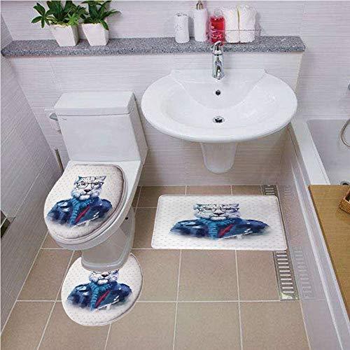 (Bath mat set Round-Shaped Toilet Mat Area Rug Toilet Lid Covers 3PCS,Quirky Decor,Portrait of Serious Looking Leopard Male Jungle Animal with Jacket Watercolors Decorative,Multicolor ,Bath mat set Rou)