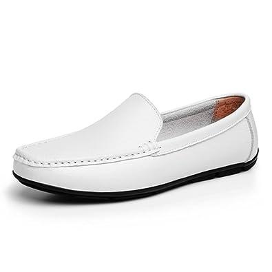 Zapatos de Hombre Mocasines de Cuero Planos Zapatos de Hombre Respirables Slip-On al Aire Libre: Amazon.es: Zapatos y complementos