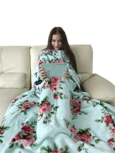 Alcea Rosea -Shu Velveteen Soft Plush TV Blanket with Sleeves and Front Pocket and Back feet Pocket,Cozy,Throw Robe for Women-Rose Printed 79'' x 60'' (Rosea (Sleeve Blanket)