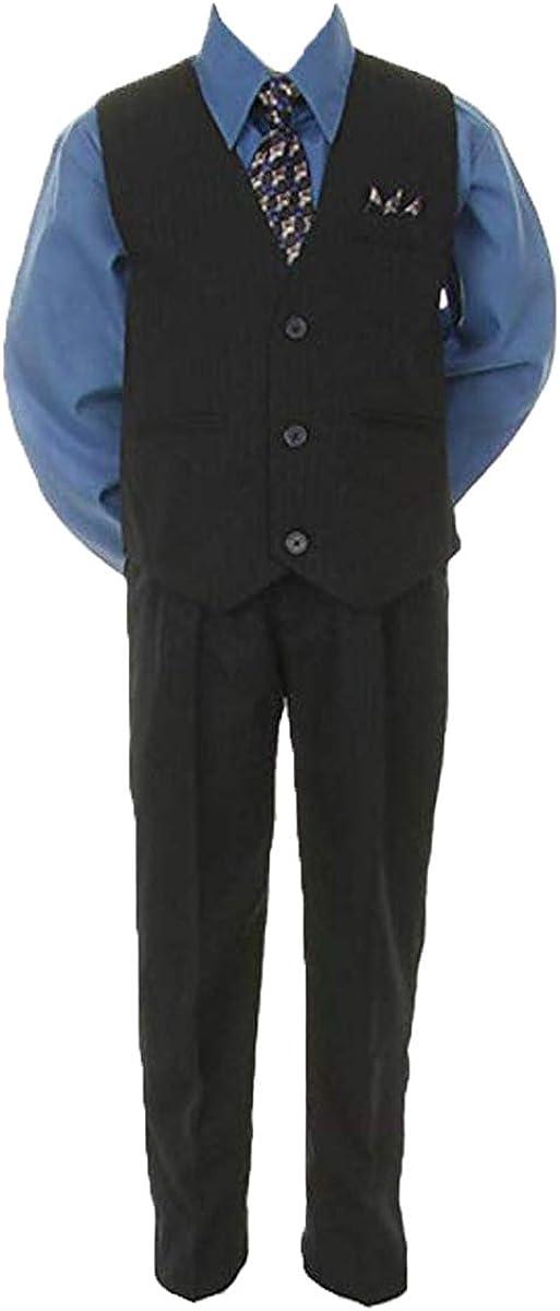 Stylish Dress Suit Outfit Pant,Vest & Tie Set-Baby Boy Thru Size 7-Navy/Vic Blue