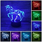 Etzon 3D Horse Lamp, Optical Illusion Night Light Desk Lamp for Room Decor & Nursery, Cool Birthday Gifts & 7 Color Changing Toys for Kids, Girls, Boys(Pretty Horse)