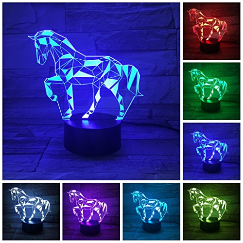 Etzon 3D Horse Lamp, Optical Illusion Night Light Desk Lamp for Room Decor & Nursery, Cool Birthday Gifts & 7 Color Changing Toys for Kids, Girls, Boys(Pretty Horse) by Etzon