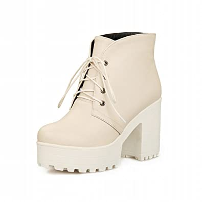 aee253ced3c Carol Shoes Casual Women's Fashion Lace-up Chic Platform Comfort Chunky  Heel Ankle Martin Boots