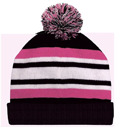 Black Pink White Pom Beanie Knit Cap Skully Winter Hat Stripe Watch Cuff Fashion - Stripes Cuff Watch