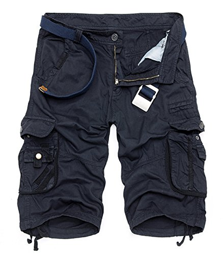 AOYOG Mens Solid MultiPocket Cargo Shorts Casual Slim Fit Cotton Solid Camo Shorts, Navy Blue 6603, Lable size 40(US 38)