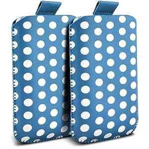 Samsung Galaxy S5 Protección Premium Polka PU ficha de extracción Slip In Pouch Pocket Cordón piel cubierta de la caja de liberación rápida (Twin Pack) Baby Blue & White por Spyrox