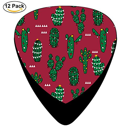 Pimalico Classic Cactus Design Picks (12 Pack, ) for Electric Guitar, Acoustic Guitar, Mandolin, and Bass / Black (Thin Fri)