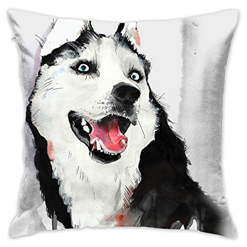ANGEL P Husky Dog Throw Pillow Cover, Daily Decorative Throw Pillows Cases Sofa Bed Car Indoor Outdoor Home Decor 18x18 Inch 45x45 cm ()