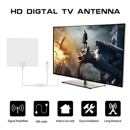 Price comparison product image Rucan TV 80 Miles Range Flat HD Digital Indoor Amplified TV Antenna with Amplifier (B)