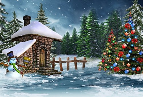 CSFOTO 6x4ft Background for Stone House Christmas Tree Decor Photography Backdrop Snowman Snowing Forest Beautiful World Wood Fence Tradition Festival Holiday Photo Studio Props Polyester Wallpaper
