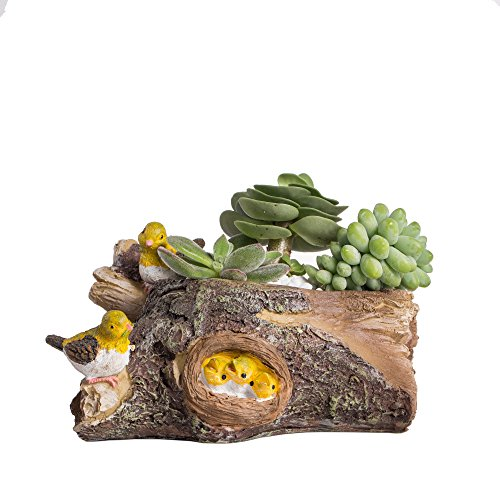 Bird Planter (Bird and Timber Nest Miniature Resin Flower Succulent Flower Pot Fairy Cactus Planter)