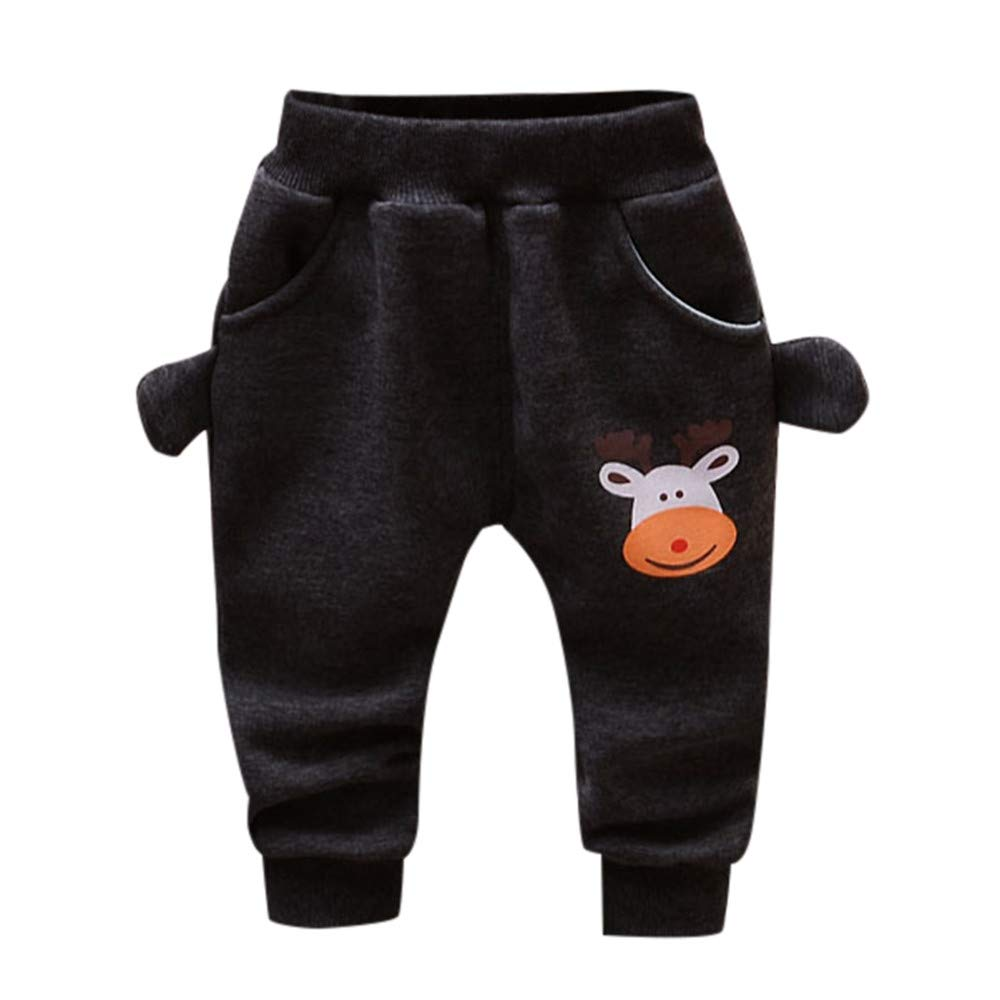 Zerototens Boys Pants 0-4 Years Old, Toddler Infant Baby Girl Boys Cartoon Deer Print Autumn Winter Thick Warm Pants Trousers Baby Tracksuit Bottoms