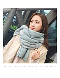 YUANZ Home Scarf Female Winter Wool Thick Knit Scarf Warm Wild Long Student Collar Small Fresh Korean Shawl (Color : Green, Size : 190 * 45CM)