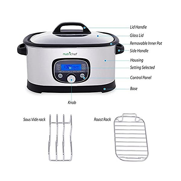 NutriChef Sous Vide Slow Cooker - 11 in 1 Steamer Stainless Steel High-Pressure Multi Cooker Crock Pot w/ Digital LCD… 3