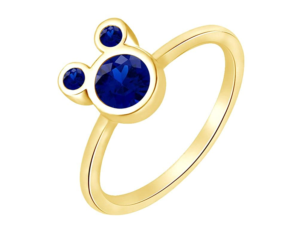 Wishrocks Round Cut Simulated Blue Sapphire Cluster Ring in 14K White Gold Over Sterling Silver