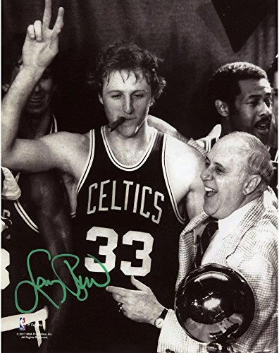 Larry Bird Boston Celtics Autographed 8'' x 10'' Celebration with Auerbach Photograph with Green Ink - Fanatics Authentic ()
