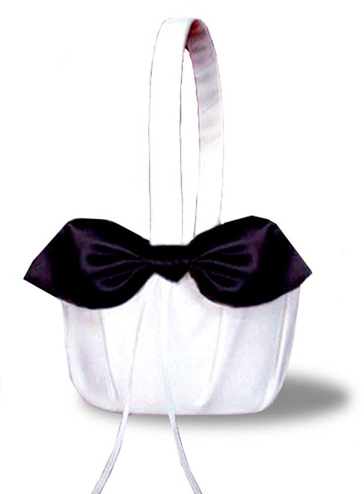 SACASUSA(™) Black Satin Bow White Wedding Flower Girl Basket