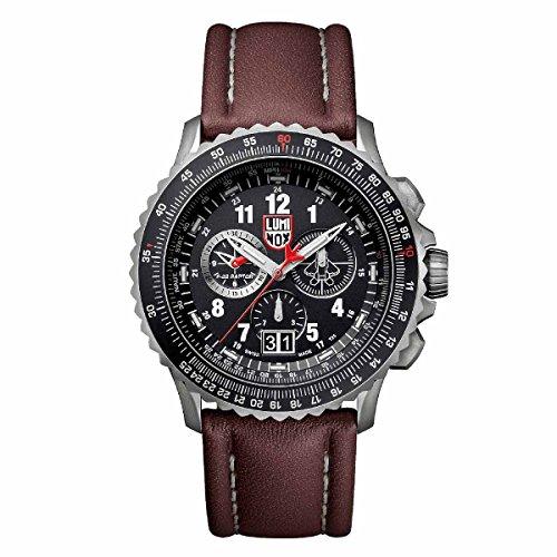 Luminox 9247 Men's Air F-22 Raptor 9240 Black Dial Brown Leather Strap Chrono Dive Watch