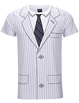 Funny World Men's White Striped Tuxedo T-Shirts