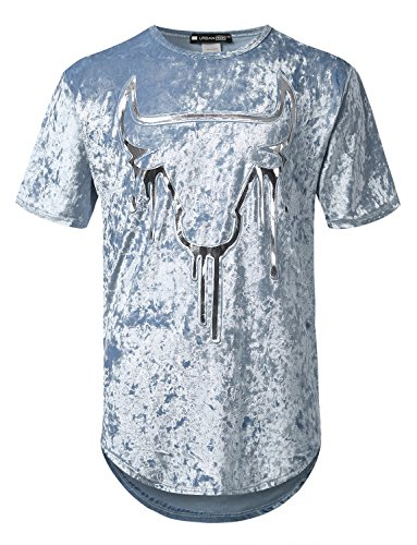 URBANCREWS Mens Hipster Hip Hop Bulls Crushed Velvet Longline Tee BLUESLVR, - Big Shirt Velvet