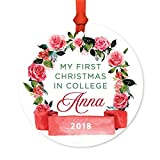 Andaz Press Personalized Graduation University Student Christmas Round Metal Ornament, My First Christmas in College Anna 2018, Red Flowers Banner, 1-Pack, Includes Ribbon and Gift Bag, Custom Name