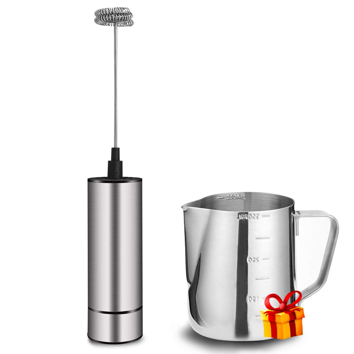 Milk Frother, Basecent Electric Milk Frother Handheld Milk Foamer For Coffee, Latte, Cappuccino, Matcha, Frappe/Automatic Stainless Steel Mini Drink Mixer Battery Operated Coffee Blender