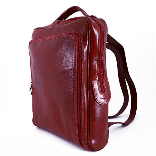 En Piel Echa Bolsillo Peleteria Frontal Mochila Verdadera Bolso Rojo Con Italia Color Hombre Espalda Para tEqqaS