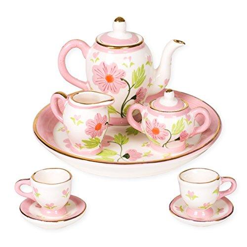 Sea Porcelain - Sea Island Posies Floral Design Porcelain Children's 10 pc. Tea Party Set