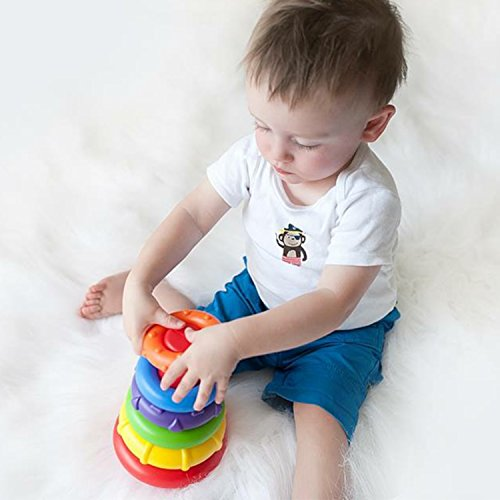 51UHRmhwaUL - Playgro4011455 Rock N Stack Toy (Rainbow) for baby infant toddler children