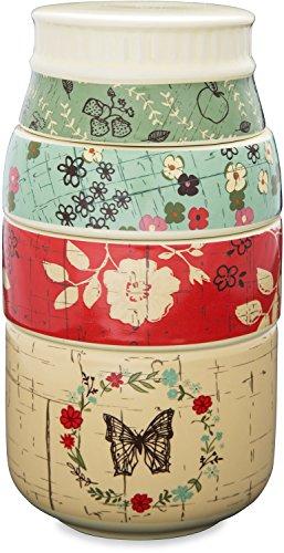 Pavilion Gift Company 23129 Live Simply Floral Mason Jar Measuring Cups, Multicolor