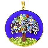 "GlassOfVenice Murano Glass Millefiori Pendant ""Tree of Life"" in Gold-Plated Frame 1-"