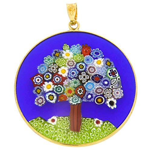 Millefiori Pendant Glass (GlassOfVenice Murano Glass Millefiori Pendant Tree of Life in Gold-Plated Frame 1-)