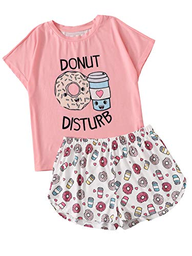 DIDK Women's Cartoon Print Tee and Curved Hem Shorts Pajama Set Pink and White L