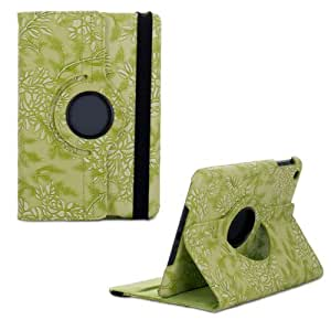 Change 360 Degrees Rotating Stand Stylish Embossed Flowers Case for Ipad Air 5, Supports Smart Cover Wake/sleep Function (Green)