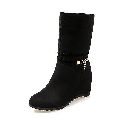 AdeeSu Womens Casual Round-Toe Metal Buckles Wedges Suede Boots SXC01934