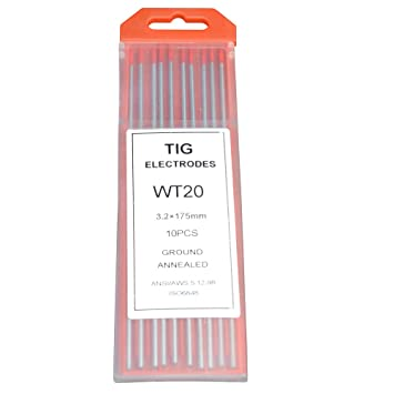 Red, WT20 10-Pack Rstar TIG Welding Tungsten Electrodes 2/% Thoriated 1//16 x 7