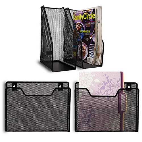 2 Magazine Holders + 2 Wall File Organizers ~ 4-Piece Set ~ Includes Mounting Hardware