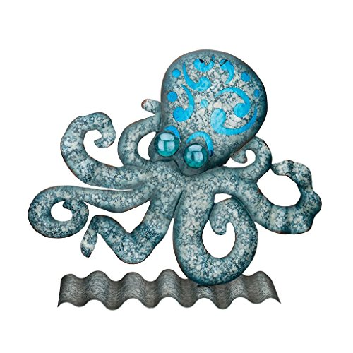 Regal Art & Gift 9.75 Inches X 3 Inches X 8 Inches Metal/Glass Coastal Table/Wall Decor - Octopus