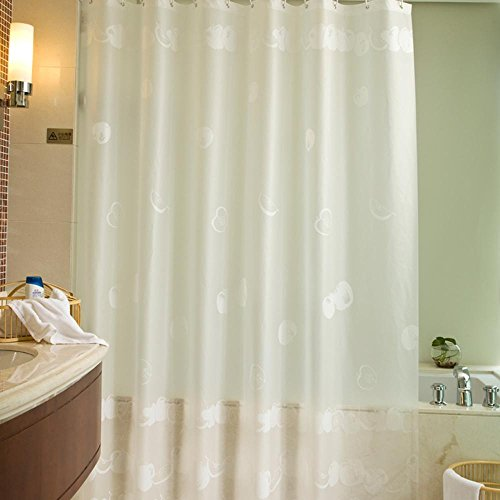 OOFYHOME Shower Solid color Matte Waterproof Mildew Resistant Shading Thickening 100%PEVA Bathroom Partition s the smallest ?4779-inch? , 120200cm