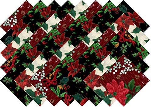Christmas Poinsettia Holly Collection 40 Precut 5-inch Quilting Fabric Squares]()