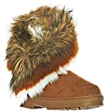 shoewhatever Faux Horn Tow Button Fur-Lined Snow Boots (7, Brnmsud)[Apparel]