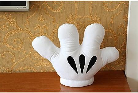 Broderie Blanche /à Sens Unique Oreiller de Coussin yfkgh Oreiller de Mickey Mouse Jouets en Peluche 40 x 30 cm Forme de Gant Paume cr/éatrice Accessoires pour Enfants