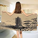 Asian Bath towel Old Stone Tiered Tower Vintage Taoist House of Faith Historical Illustration Cotton Beach Towel Pale Brown Black (55''x28'')