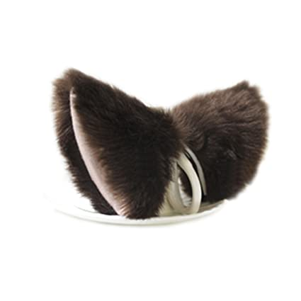 E-TING Cat Fur Ears Hair Clip Anime Cosplay Costume Brown with Beige inside