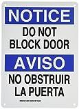 Brady 124987 Bilingual Sign, Legend'Do Not Block Door/No Obstruir La Puerta', 14' Height, 10' Width, Black and Blue on White